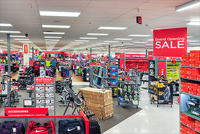 Exercise and fitness section inside Sports Authority